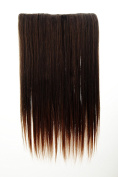 WIG ME UP ® - L30172-2T30 Hairpiece Halfwig (half wig) 5 Microclip Clip-In Extension wide full back of head long straight chestnut brown mix 60cm