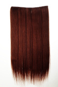 WIG ME UP ® - L30172-35 Hairpiece Halfwig (half wig) 5 Microclip Clip-In Extension wide full back of head long straight auburn red brown 60cm