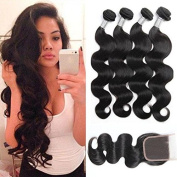 Maxine Brazilian Body Wave Hair 3 Bundles with Closure Grade 8A Virgin Human Hair with Closure Free Part Natural Black Colour