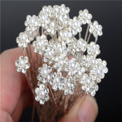 Miaoo 40PCS Crystal Rhinestone & Pearl Flower Hairpins Perfect hair Accessory For Everyday Wear