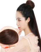 BarRan Remy Straight Hair Bun Cover Hairpiece Clip on Extension Hair Piece Ponytail