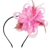 HowYouth Flower Feather Fascinator Headband with Hair Clip Headwear for Wedding/Bridal/Tea Party/Royal Ascot/Ladies Day/Church