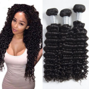 Brazilian Deep Wave Curly Hair 3 bundle Human Hair Extensions Weave Natural Colour 8A Grade 100g/piece