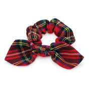 Girls Red Tartan Bow Hair Scrunchie/ Elastic /Bobble/ Ponio