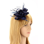 Womens Charming Mesh Feather Floral Hair Clip Ladies Girls Hairpin Cocktail Party Flower Fascinator