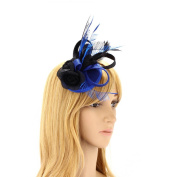 Women Fascinators Bridal Wedding Party New Net Ribbon Ladies Flower Feather Fascinator With Hair Clip