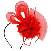 HowYouth Women's Mesh Flower Fascinator Headband with Hair Clip for Wedding/Bridal/Tea Party/Royal Ascot/Ladies Day/Church