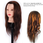 Training Head Hairdressing 100% Real Human Hair Styling Mannequin Manikin Dolls Head Wih Table Clamp Holder EHA418P