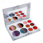 DE'LANCI Eyeshadow Makeup Palette, 4 Rainbow Glitter and 6 Matt Eyeshadow, Highly Pigmented Makeup Palette with Makeup Mirror