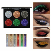 Glitter Eyeshadow ,Greencolourful Rhinestone Sequin Eyeshadow Powder Palette Shiny Glitter Powder Highlight Eye Shadow ,#B