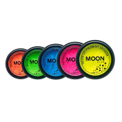 Moon Glow - Neon UV Pigment Shaker 3g Set of 5 – Glows brightly under UV Lighting! Perfect for face/body, loose eye shadow & nail art