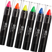 UV Glow - Neon UV Paint Stick / Face & Body Crayon - Set of 6 Colours. Genuine and original UV Glow product - glows brightly under UV Light!