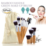 Makeup Brush Set 12 Pieces Unicore Design Professional Face Eyeliner Blush Contour Foundation Beauty Cosmetic Brushes Kit for Powder Liquid Cream Plus Bonus Cleaner Holder Colourful Hair