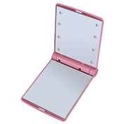 Moresave LED Folding Cosmetic Mirror Travel Makeup Mirror 8 LED Lights Makeup Mirror