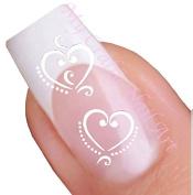 White Heart Adhesive Nail Art Stickers