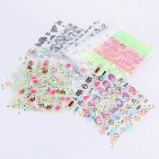 Beauty 3D Nail Stickers Art Water Decal Fashion with 50 Sheet Random Colourful Tips Decoration