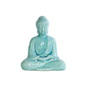 Benzara Meditating Accent Buddha Figurine in Dhyana Mudra, Blue