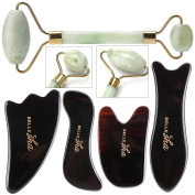 Jade Facial Roller / Gua Sha Combo - Skin Therapy And Beauty Massage Tools - Anti-Ageing