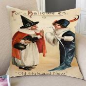 PaigeHamelf vintage witch Pillow Covers Decorative Halloween Accent Pillows Pillowcase 46cm x 46cm