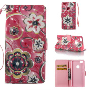 Huawei P10 Lite Case [with Free Screen Protector], Qimmortal(TM) Premium PU Leather Wallet Case Stand Book Type Style Cover with [Lanyard Strap] and [Credit Card Holders Slots] Flip Folio Magnetic Detachable Button Protective Case Cover For Huawei P10 ..