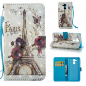 Huawei Honour 6C Case [with Free Screen Protector], Qimmortal(TM) Premium PU Leather Wallet Case Stand Book Type Style Cover with [Lanyard Strap] and [Credit Card Holders Slots] Flip Folio Magnetic Detachable Button Protective Case Cover For Huawei Hon ..