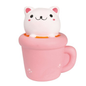 DROVE Creative Cute Stress Reliever Squishy Squeeze Cup Cat Slow Rising Soft Toy