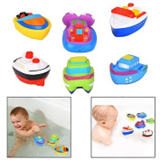 Itian 6 Pcs Of Kid Bath Toys Floating Boat Toys For Baby Small Carton Ship To Make Bathing Fun