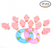 10 Pieces Rubber Pink Pig Bath Toy for Baby, Kid, Children with 2 Pieces Mini Swimming Ring