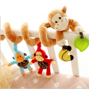 Adorable Monkey Jungle Animals Bell Baby Music Bed Hanging Cribs Toy-Baby Children Twisty Curly Pram Pushchairs Car Seat Cot Toy-Musical Bed Cartoon Gift Toys – Perfect For Sensory Development