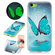 Sycode Luminous Case for iPhone 5C,Scratch-Resistant Bumper Cover for iPhone 5C,Fashion Cool Creative Unique Special Glow in Dark Green Fluorescent Effect Soft Gel Silicone Case for iPhone 5C Beautiful Romantic Blue Butterfly Water Painted Silicone Ult ..
