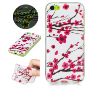 Sycode Luminous Case for iPhone 5C,Scratch-Resistant Bumper Cover for iPhone 5C,Fashion Cool Creative Unique Special Glow in Dark Green Fluorescent Effect Soft Gel Silicone Case for iPhone 5C Beautiful Romantic Rosa Plum Blossom Flower Painted Silicone ..