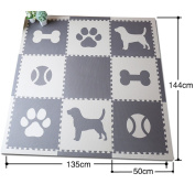New design! Meitoku EVA Foam play, Dog and Footprint,Cover:140cm x 140cm