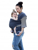 Baby Wrap Carrier for Newborns, Infants & Toddlers Premium Soft Cotton Baby Sling Carrier for babies up to 44lbs/20kg, Safety Comfortable Functional Dark Grey