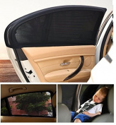 Fontee Baby Pack of 2 Car Sun Shades,Car Side Window Baby Sun Shade,Average Size Elastic Fits Most Cars,Provides Maximum UV Protection To Protect Baby,Black