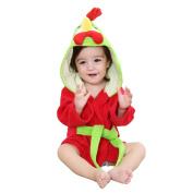 MICHLEY Baby Girls Bathrobe, Soft Cotton Towel Animal Dinosaur Style Hooded Bath Robe For Boys 0-24 Months, Red