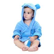 MICHLEY Baby Girls Bathrobe, Soft Cotton Towel Animal Dinosaur Style Hooded Bath Robe For Boys 0-24 Months, Blue
