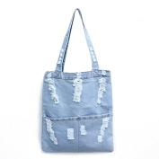 Espeedy Fashion Women Canvas Denim Tote Large Capacity Handbag Shopping Book Student Organiser Single Shoulder Bag