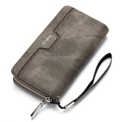 Yiwa Men's Vintage PU Leather Long Zipper Wallet Male Card Holder Clutch Purse With Lanyard