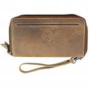 BARON of MALTZAHN Men's wrist bag HOUDINI of brown eco-leather