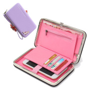 Phone Wallet for Girl Women Ladies, Sunroyal Ladies Purse Multi-function Zippe Leather Multi Card Organiser Wallet Women's Multi-card Position Cellphone Case Long Style Handbag for iPhone X / iPhone 8 / 8 Plus / iPhone 7 /7Plus /6S /6S Plus /6 /6Plus / ..