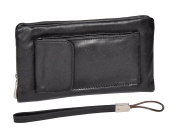 Soft Leather Wrist Bag Pouch for Banknotes, Mobile Phone, Credit cards HLG011 Black