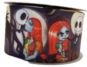 Nightmare Before Christmas Jack Kissing Sally 2.5cm Wide Repeat Ribbon Sold in Yard Lots