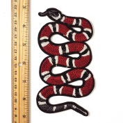 15cm Red Snake Embroidered Iron-On Applique Patch, Embroidery Patch by 1 pc, TR-11387N