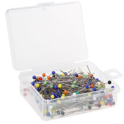 Pengxiaomei Glass Ball Head Pins, 250Pcs Multicolor Quilting Sewing Pins 38mm for Dressmaker with Box