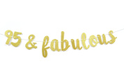 Firefairy™ 95 & Fabulous Gold Glitter Cursive Banner- Happy 95th Birthday Anniversary Party Supplies, Ideas and Decorations