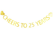 Betalala Large Gold Cheers to 25 Years Letters Banner Garland Bunting Sign Party Decoration Photo Props