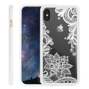 iPhone X Case NEEDOON Ultra-thin Plastic Transparent Flower Print Anti-scratch Protective Cover,15cm ,G