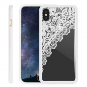 iPhone X Case NEEDOON Ultra-thin Plastic Transparent Flower Print Anti-scratch Protective Cover,15cm ,E