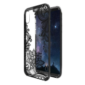 iPhone X Case NEEDOON Ultra-thin Plastic Transparent Flower Print Anti-scratch Protective Cover,15cm ,C