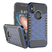 NEEDOON 2 in 1 iPhone X Case Dual Layer Slim Protective Textured Cover Secure Heavy Duty Protection for 5.8,Blue